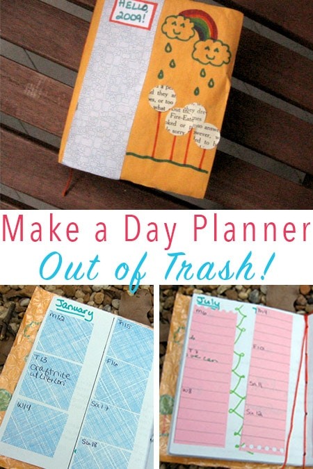 About a week ago, I ran across an awesome tutorial for making a DIY day planner out of trash and decided to give it ago!