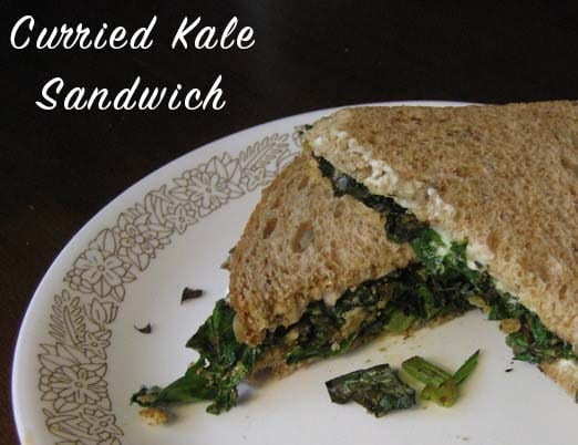 Curried kale on whole grain bread might sound a little bit strange, but this sandwich is quick, easy, and surprisingly satisfying!