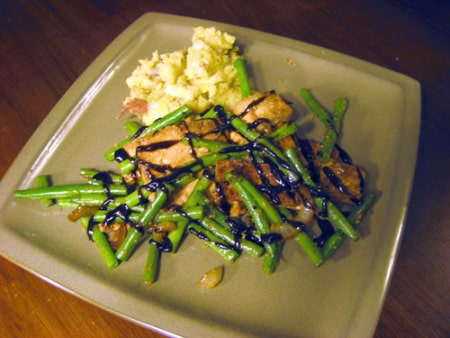 This is a simple stir fry starring pan fried tofu and garlicky green beans. It's a perfect weeknight meal that comes together in less than 30 minutes.