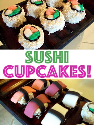My little sister, Amanda, made these sushi cupcakes - aren't they awesome??