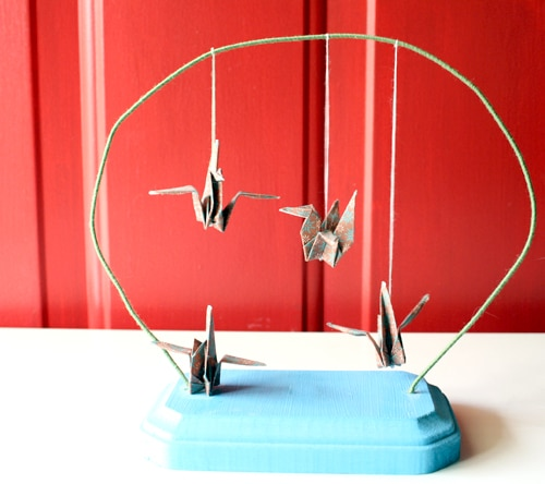 Paper Crane Desktop Mobile - It's been ages since I made one of these paper crane mobiles, but yesterday was rough, and folding paper cranes always eases my mind.