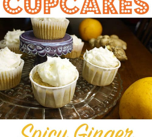 frosted cupcakes on a glass serving tray, text overlay