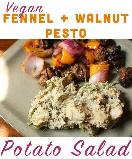 Who says that pesto begins and ends with basil and pine nuts? Seasonal fennel and earthy walnuts are the base for this vegan pesto potato salad.