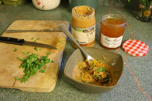 Food on the cutting board, with Curry