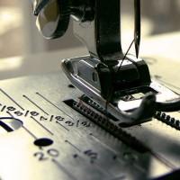 A sewing machine presser foot.