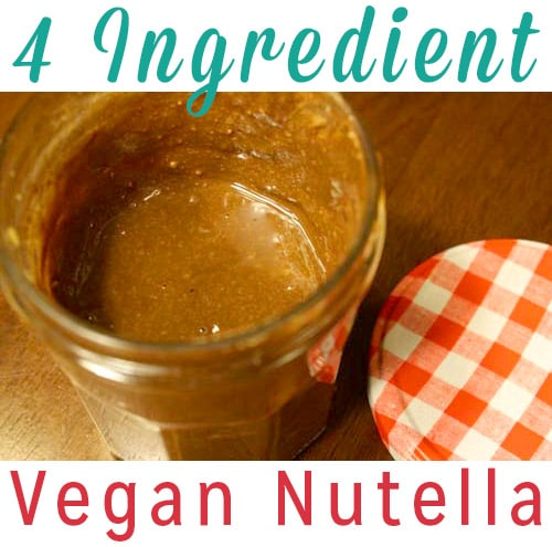 Oh my goodness, you guys! I made vegan nutella! Not only that, it was delicious, easy, and used only four ingredients!