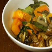 Roasted butternut squash with scallions and mushrooms