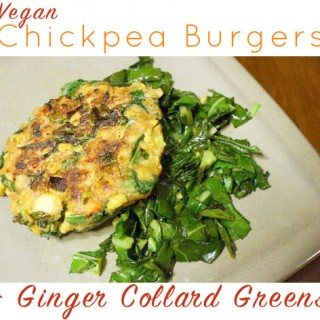 Vegan Chickpea Burgers with Gingered Collards