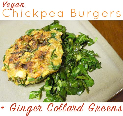 Who needs a bun when you can serve your veggie burger on a bed of gingery collards?