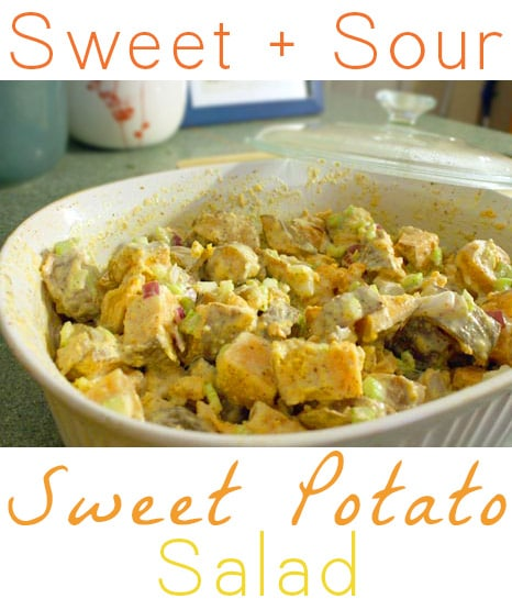This sweet potato salad is in a sweet and sour dressing made with pickle juice! Trust me, y'all.