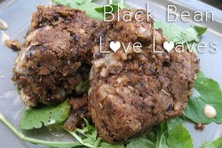 These tasty black bean cakes were delicious over arugula and drizzled with a little bit of tahini dressing!