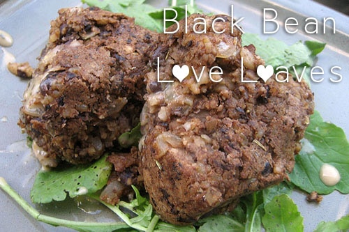 black bean cakes over greens