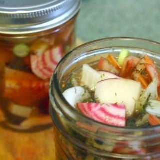 Sweet Pickled Beets with Chard and Green Garlic