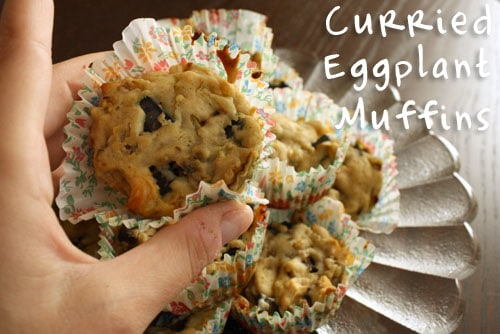 These savory muffins are a perfect three-bite snack. They're packed with pieces of curried eggplant!