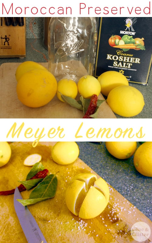 Moroccan preserved meyer lemons! You can use the juice from the lemon pulp or slice up the peels to flavor savory dishes like soups, stews, and sauces.