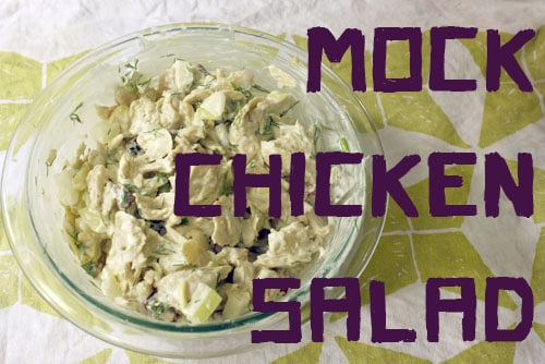 Homemade Mock Chicken Salad with Almonds and Cranberries