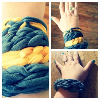 Make Chunky Braided T-Shirt Bracelets from Old Tees