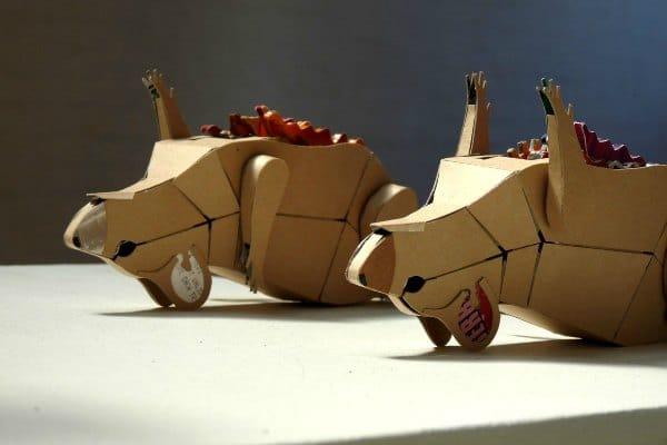 reclaimed cardboard sculptures