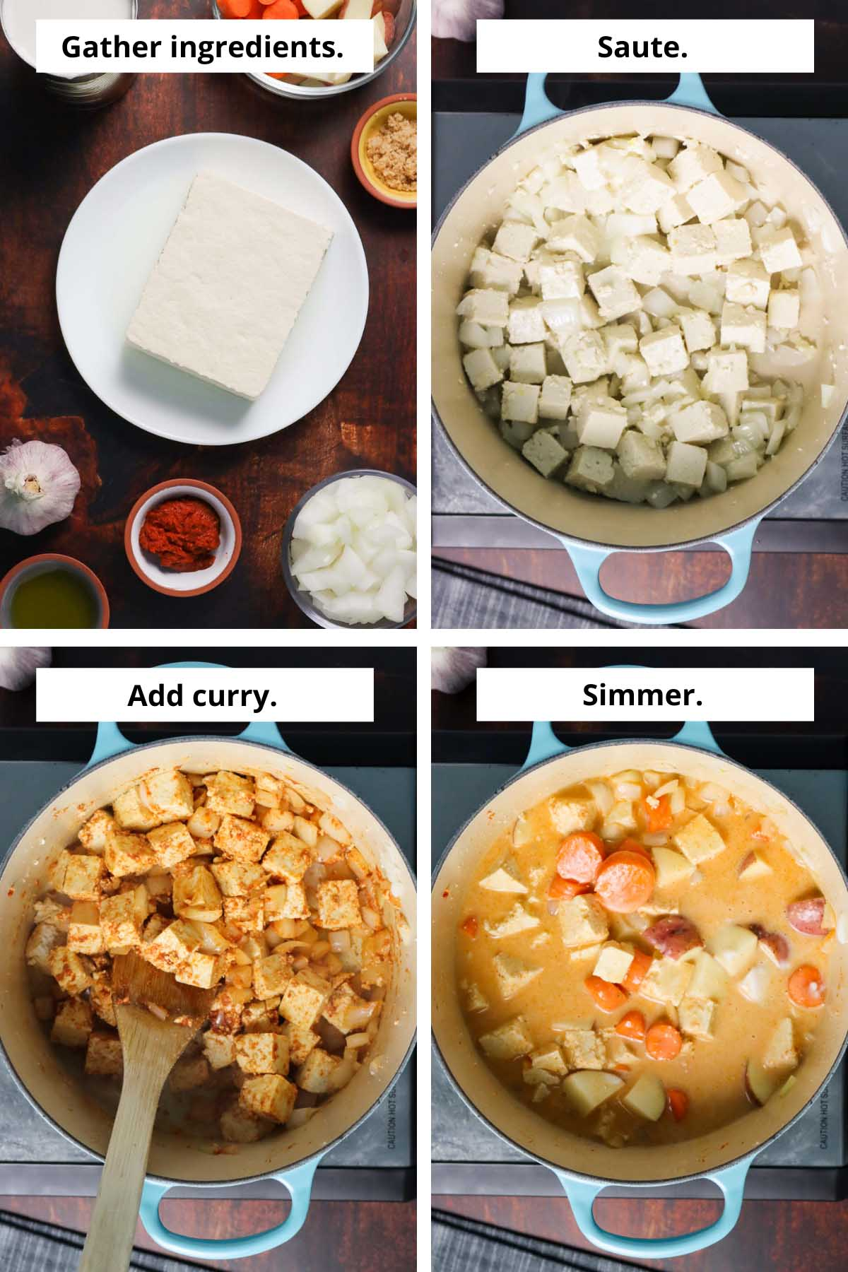 image collage showing the curry ingredients and the steps to make it