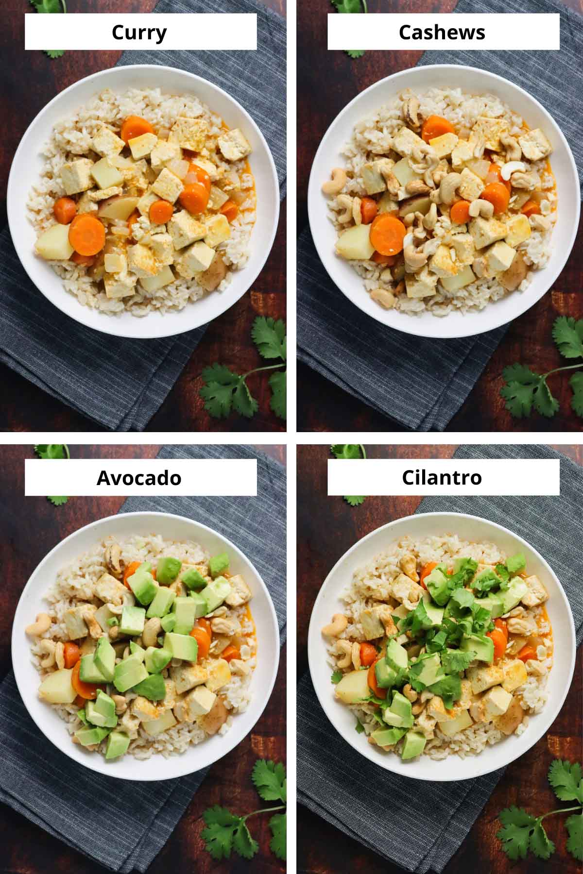 image collage showing the tofu curry and adding the toppings, one by one