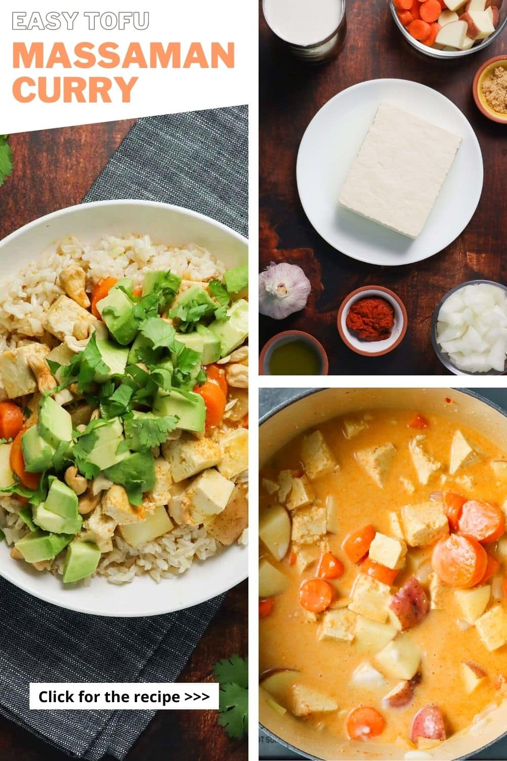 image collage showing curry in a bowl, ingredients on a table, and the massaman curry tofu in the pot