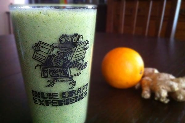 This orange ginger green smoothie recipe reminds me of a creamsicle, but a little bit spicy!