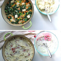 image collage: pan of shepherd's pie filling, then the same pan with mashed potatoes spread over the top