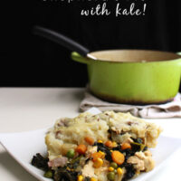 This vegan shepherd's pie recipe combines some traditional shep pie elements with plenty of vibrant, green kale.
