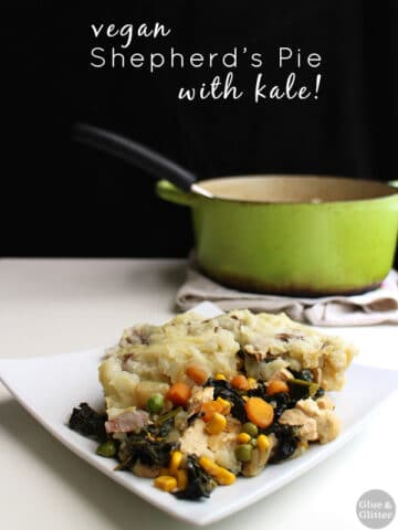 This vegan shepherd's pie recipe combines some traditional shep pie elements with plenty of vibrant, green kale.
