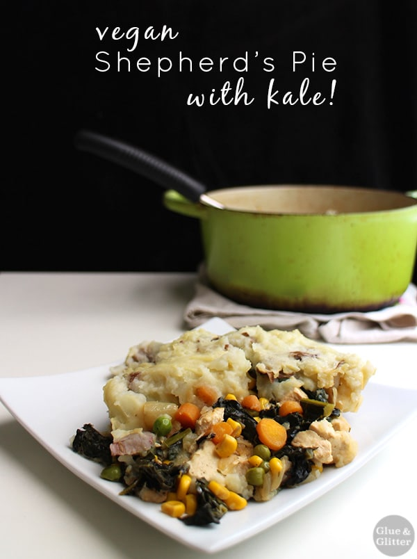 This vegan shepherd's pie recipe combines some traditional shep pie elements with plenty of healthy kale. It's one of my family's favorites!