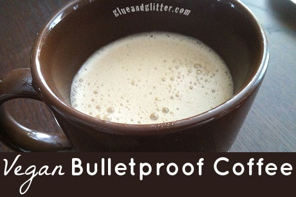 picture of vegan bulletproof coffee in a brown mug
