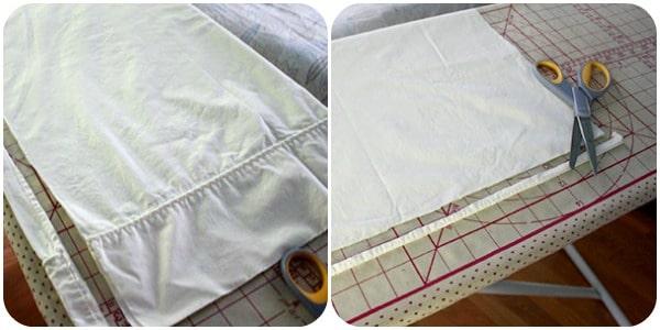 cutting pillowcase