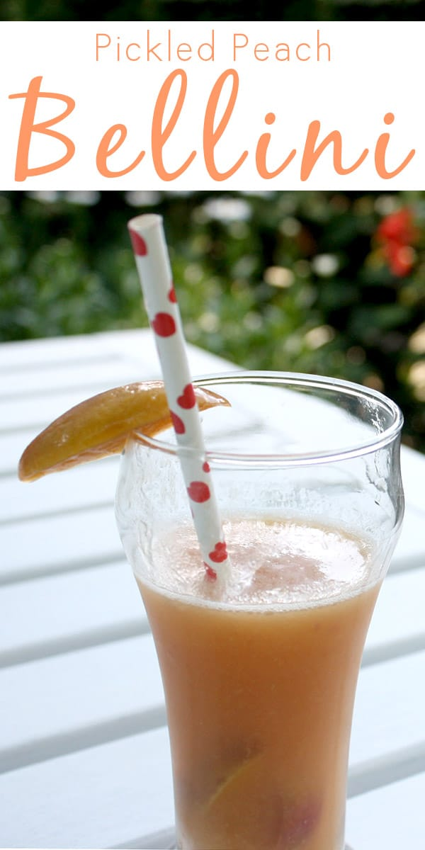 Sweet-and-sour fruit pickles inin a bubbly peach Bellini recipe? Don't mind if I do!