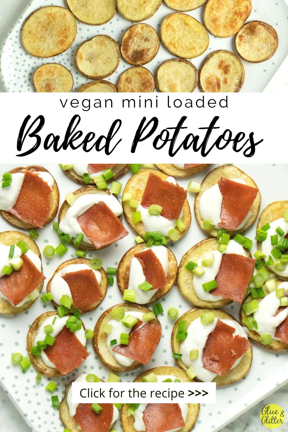 serving tray with mini baked potato appetizer, text overlay