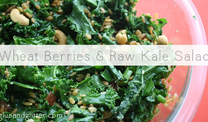 wheat berries and raw kale salad
