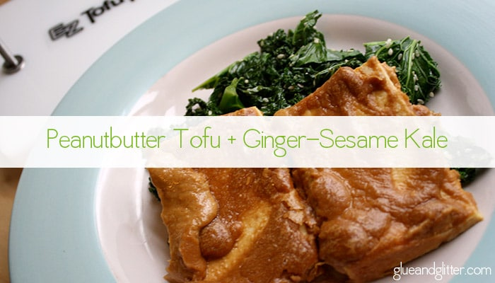 Creamy peanut butter tofu is perfect served over fresh ginger-sesame kale.