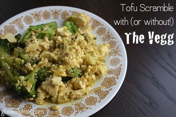 This tofu scramble uses the Vegg to give it a yolkier texture. The Vegg isn't available everywhere yet, so if you want to make this without it, I'm including alternate instructions that are just as tasty.