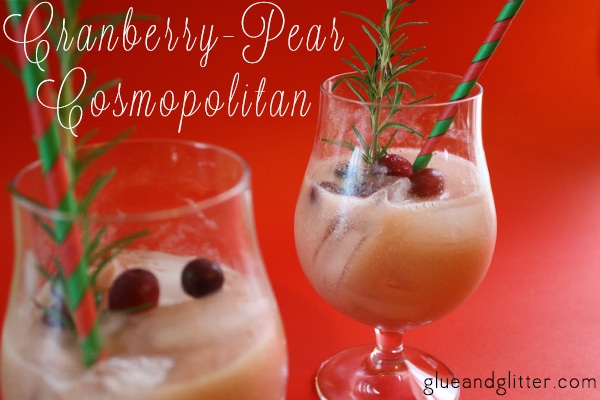 A sweet-and-tart, Pear and Cranberry Cosmopolitan recipe. This is a pretty unconventional cosmopolitan recipe, and it's perfect for holiday parties.