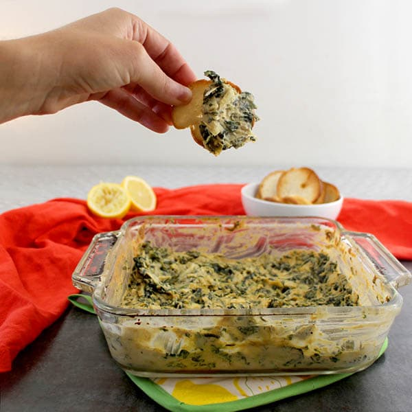 This spinach artichoke dip doesn't use any mayo, cheese, cream cheese, or sour cream, but it's just as decadent. Promise!