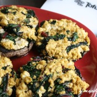 Don't you just love stuffed mushrooms? These beautiful 'bellas are stuffed with homemade tofu ricotta and tasty greens.