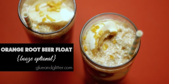 glasses of orange root beer floats on a table, text overlay