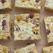 close-up of vegan rice crispy treats on the table