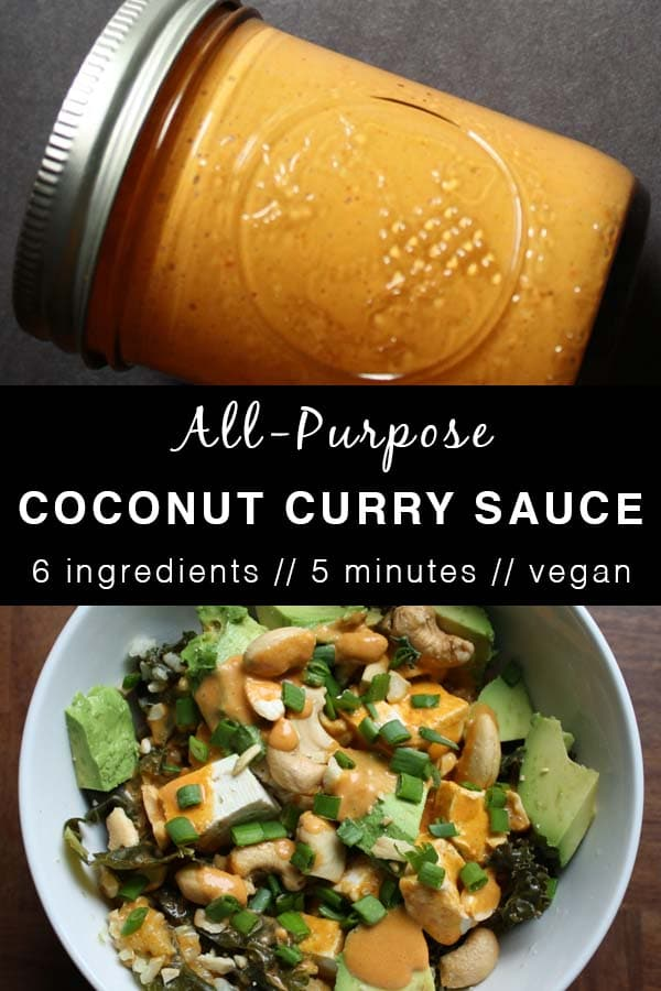 Image collage of coconut curry sauce on a tofu bowl and in a jar