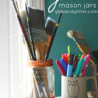 These glitter mason jars are great for storing craft supplies and knick knacks.