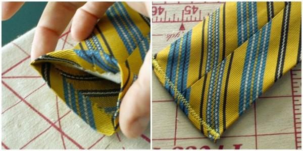 Necktie Scissor Holder: fold. pin, and sew