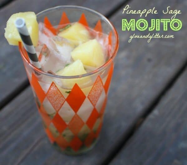 pineapple mojito in a glass with pineapple garnish, text overlay