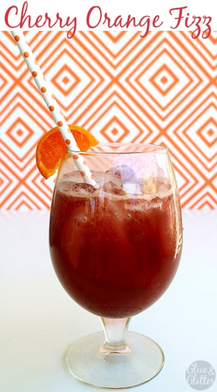 Serve this cherry orange fizz as a sparkling cocktail or a non-boozy soda. Your choice!