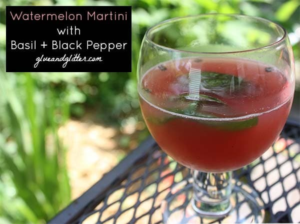 This watermelon martini has a peppery edge that's just right! Cracked black pepper contrasts really well with sweet watermelon in this martini recipe.