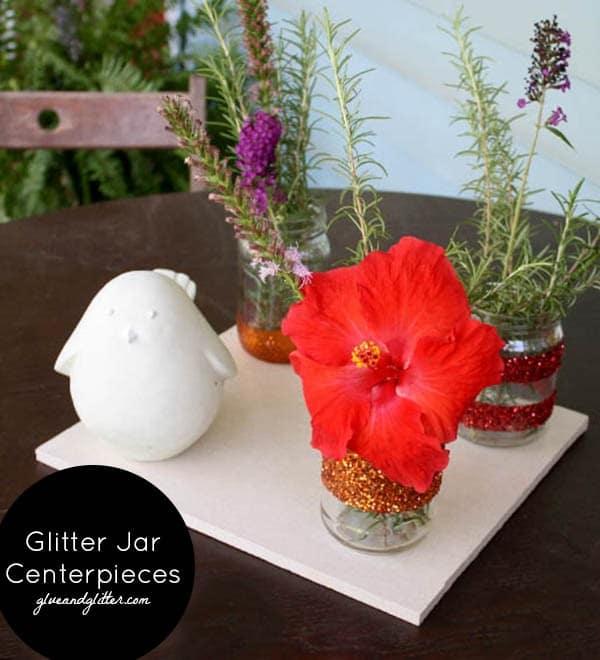 Glittered Mason Jar Centerpieces