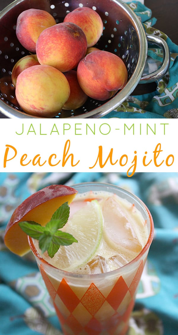 This Jalapeno-Mint Peach Mojito recipe is a little bit sweet and a little bit spicy. It's basically a frosty glassful of summer.